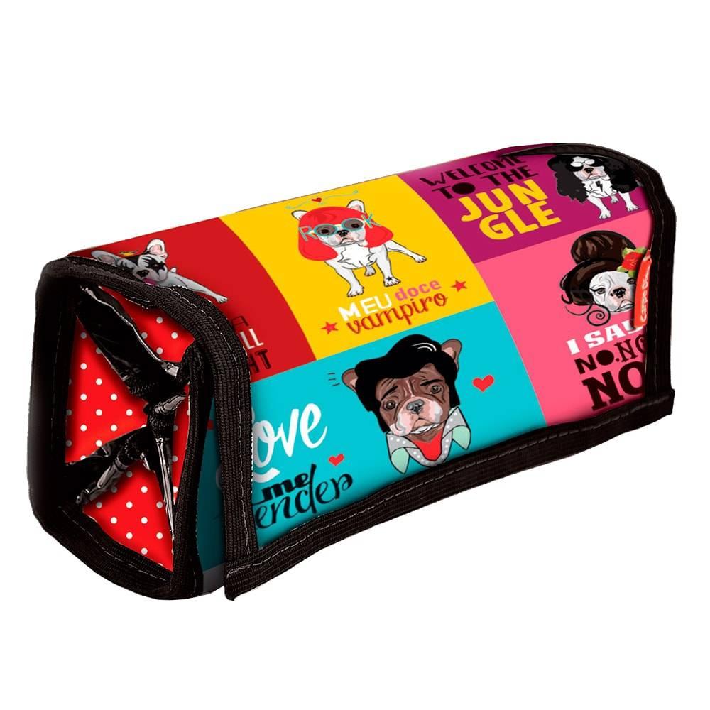 Necessaire para Maquiagens Monsters of Dog - Carpe Diem - Colorido em Couro Linhão - 20x8 cm