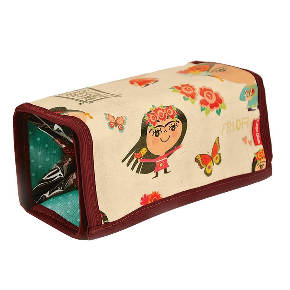 Necessaire para Maquiagens Frida - Carpe Diem - Bege em Couro Linhão - 20x8 cm
