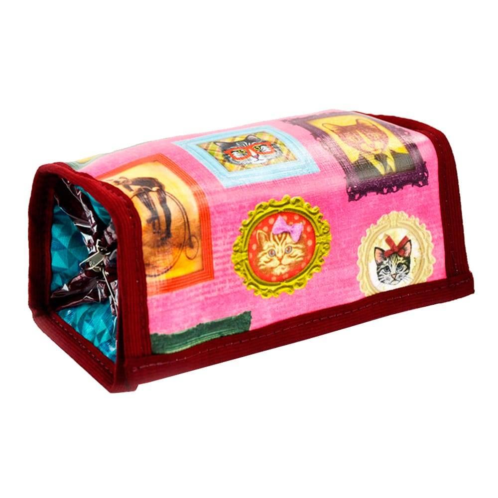 Necessaire para Maquiagens Gatos de Família - Carpe Diem - Rosa em Couro Linhão - 20x8 cm
