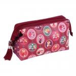 Necessaire Raposinhas Delicate - com Separador Interno - Rosa em Courino - 25x17 cm