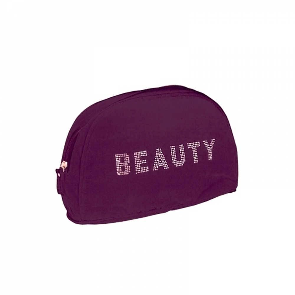Necessaire Shiny Beauty Roxa em Veludo - Urban - 25x16 cm