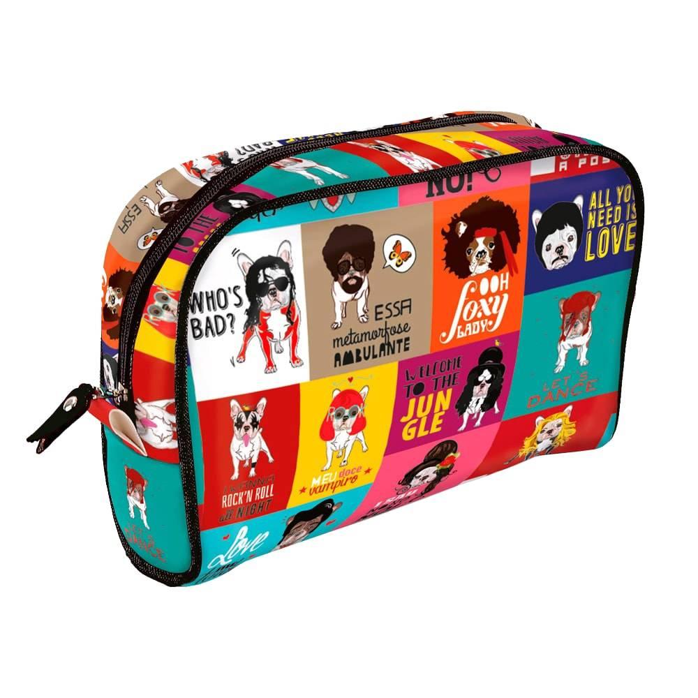 Necessaire Viagem Monsters of Dog - Carpe Diem - Colorida em Couro Sintético - 25x18 cm