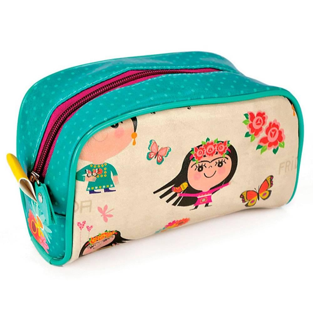 Necessaire Viagem Frida - Carpe Diem - Pequena em Couro Sintético - 18x11 cm
