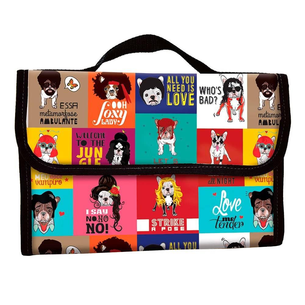 Necessaire para Viagens Monsters of Dog - Carpe Diem - Colorido em Couro Linhão - 30x23 cm