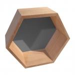 Nicho Hexagonal Natural em Madeira - 24x21 cm