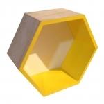 Nicho Hexagonal Natural/Amarelo em Madeira - 24x21 cm