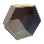 Nicho Hexagonal Natural/Cinza em Madeira