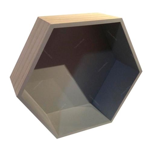 Nicho Hexagonal Natural/Cinza em Madeira - 36x31 cm