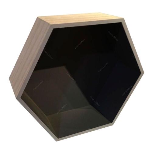 Nicho Hexagonal Natural/Preto em Madeira - 36x31 cm