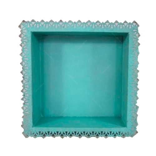 Nicho de Parede Renda Azul em Metal - 35x35 cm