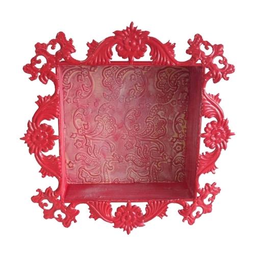 Nicho Vermelho Flowers em Metal - 40,5x40,5 cm