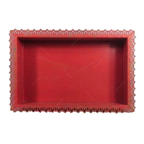 Nicho Vermelho Rendado em Metal - 53x35 cm