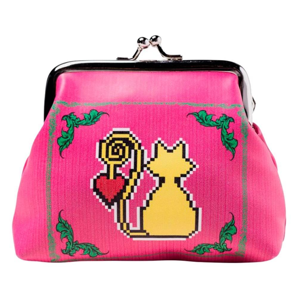 Niqueleira Amor de Pixel Gato Rosa em Courino - 10x10 cm
