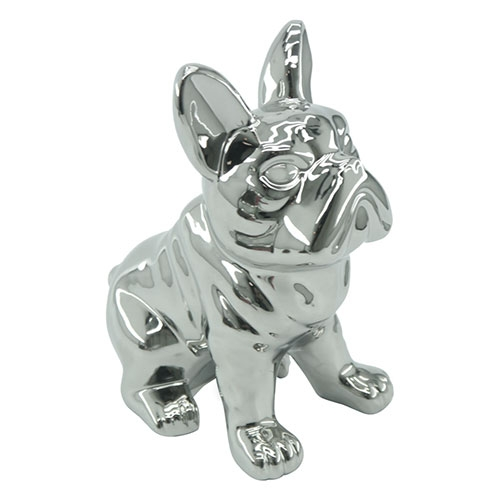 Objeto Decorativo Bulldog Cromado em Cerâmica - 21x17 cm