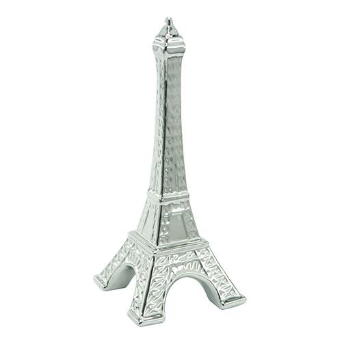 Objeto Decorativo Torre Eiffel Cromada em Cerâmica - 30x13 cm