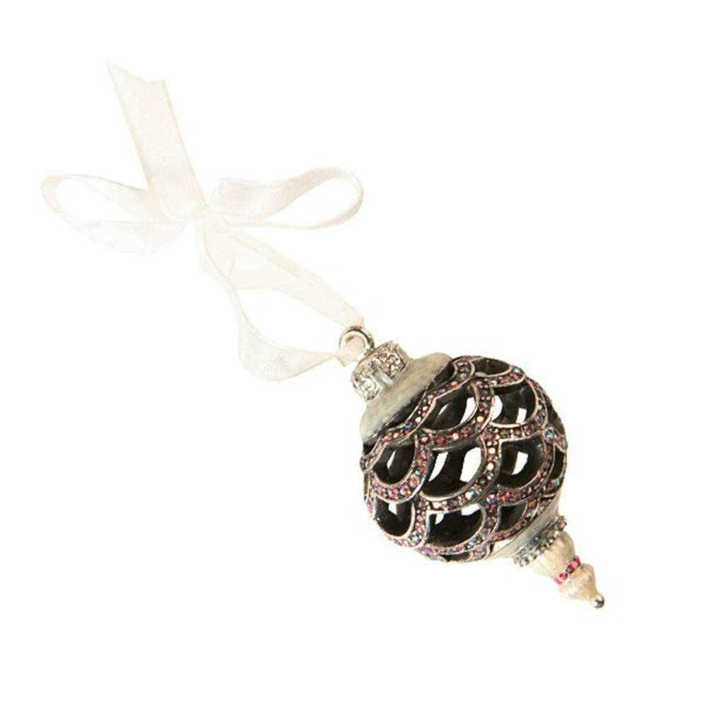 Ornamento Bola de Natal Prata com Detalhes em Strass - 16x11 cm