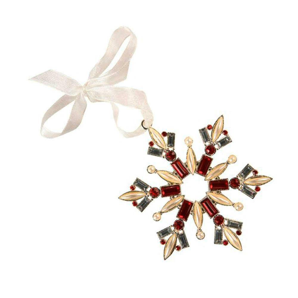 Ornamento Floco de Neve Colorido com Pedrarias em Metal - 16x11 cm