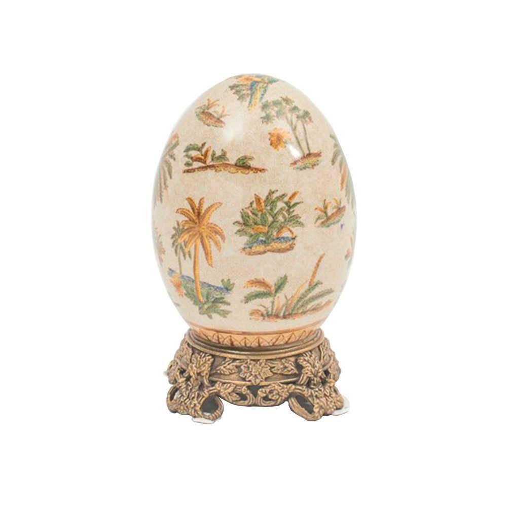 Ovo Decorativo Le Palmier em Porcelana - Craquelado - 19x12 cm