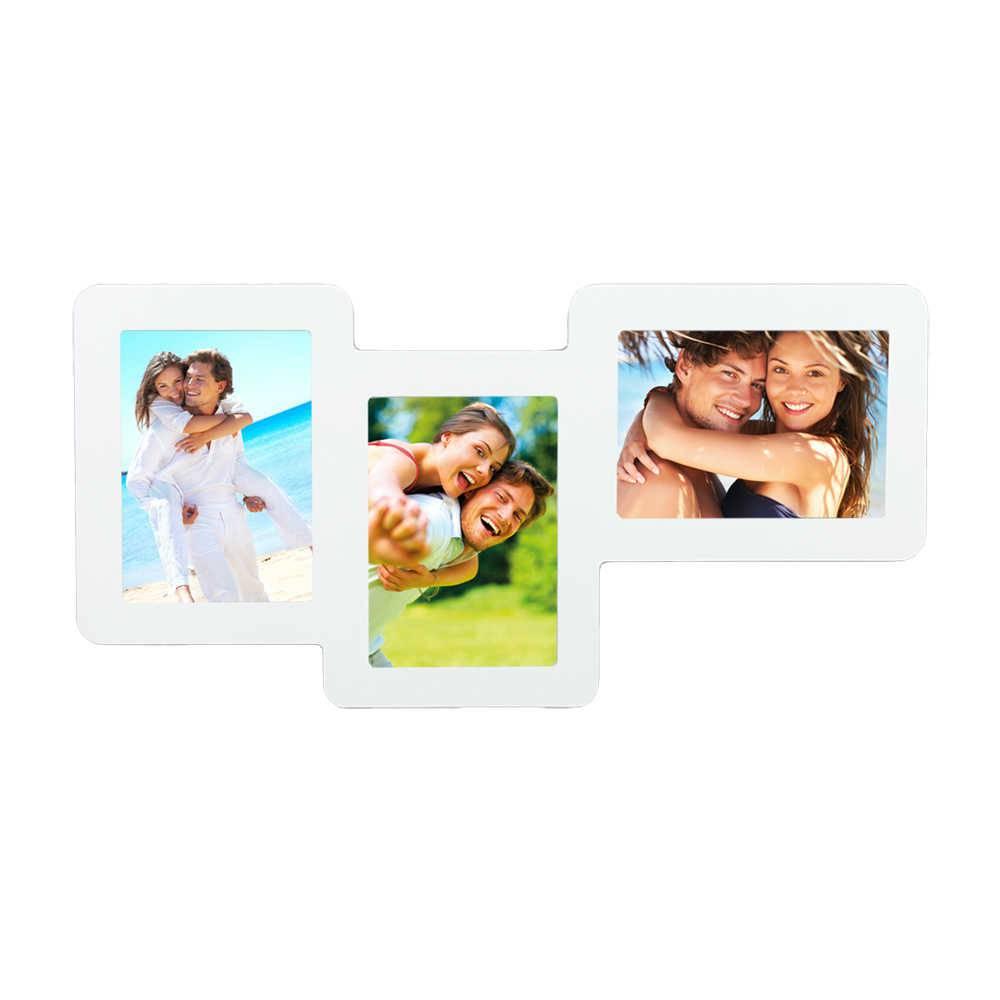 Painel para 3 Fotos 15x21 Branco em MDF - 62x31 cm