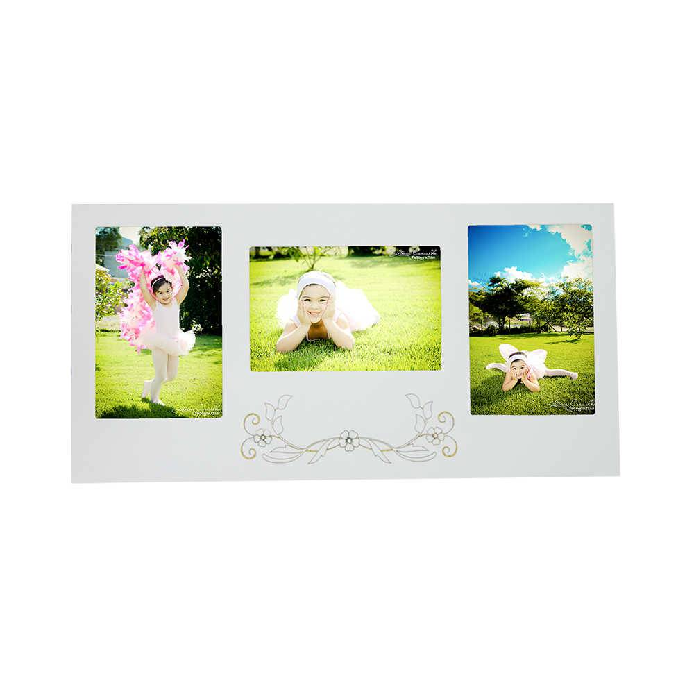 Painel para 3 Fotos 20x30 Branco com Ramo de Flores em MDF - 82x42 cm