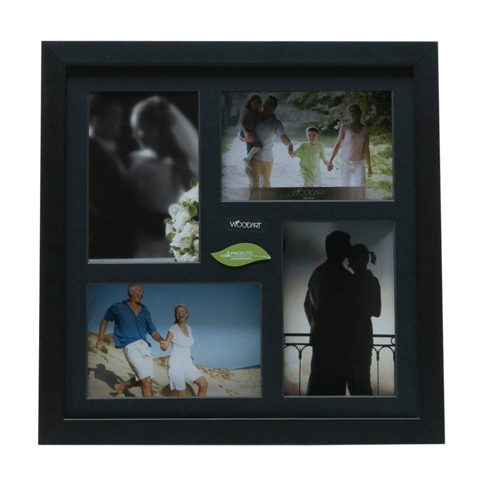 Painel para 4 Fotos - 10x15 cm - Preto em Madeira - Woodart