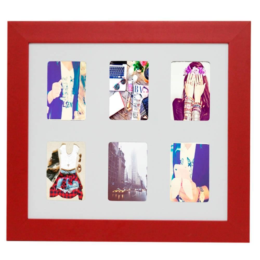 Painel 6 Fotos Moldura Vermelha - 7x10 - em MDF - 34,2x30,7 cm