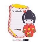 Painel de Anotações Kokeshi Coque Vermelho