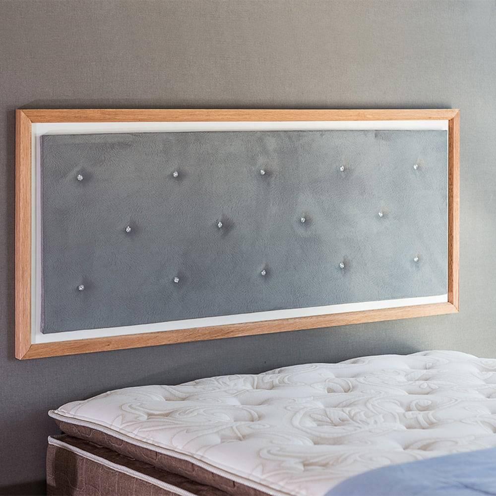 Painel Cabeceira Suzie Q - Casal - em MDF e Tecido Cinza T3 / Jatobá - 150x62,7 cm