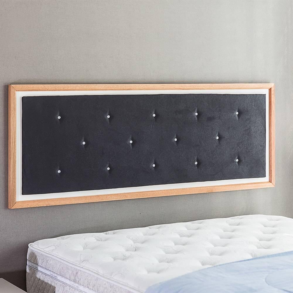 Painel Cabeceira Suzie Q - Queen Size - em MDF e Tecido Preto T8 / Jatobá - 170x62,7 cm