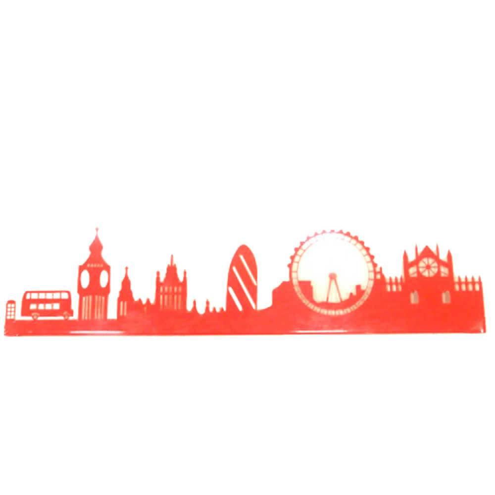 Painel Silhueta Londres Vermelho em Metal - 60x20 cm