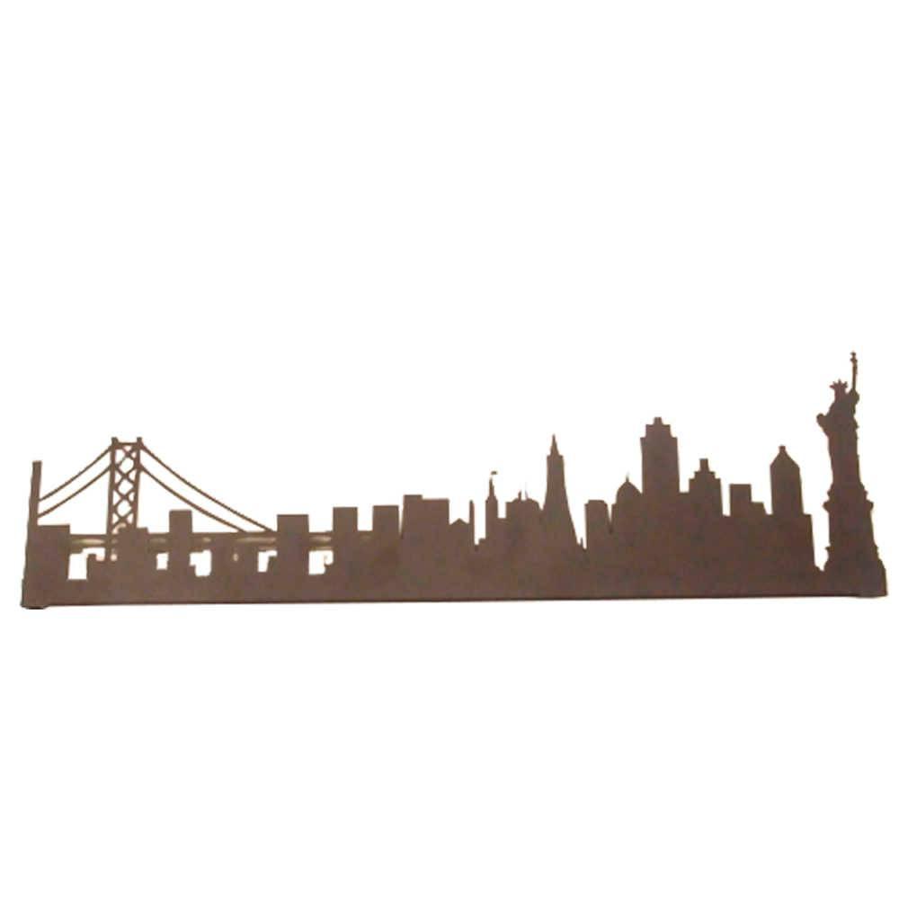 Painel Silhueta New York Preto em Metal - 60x20 cm