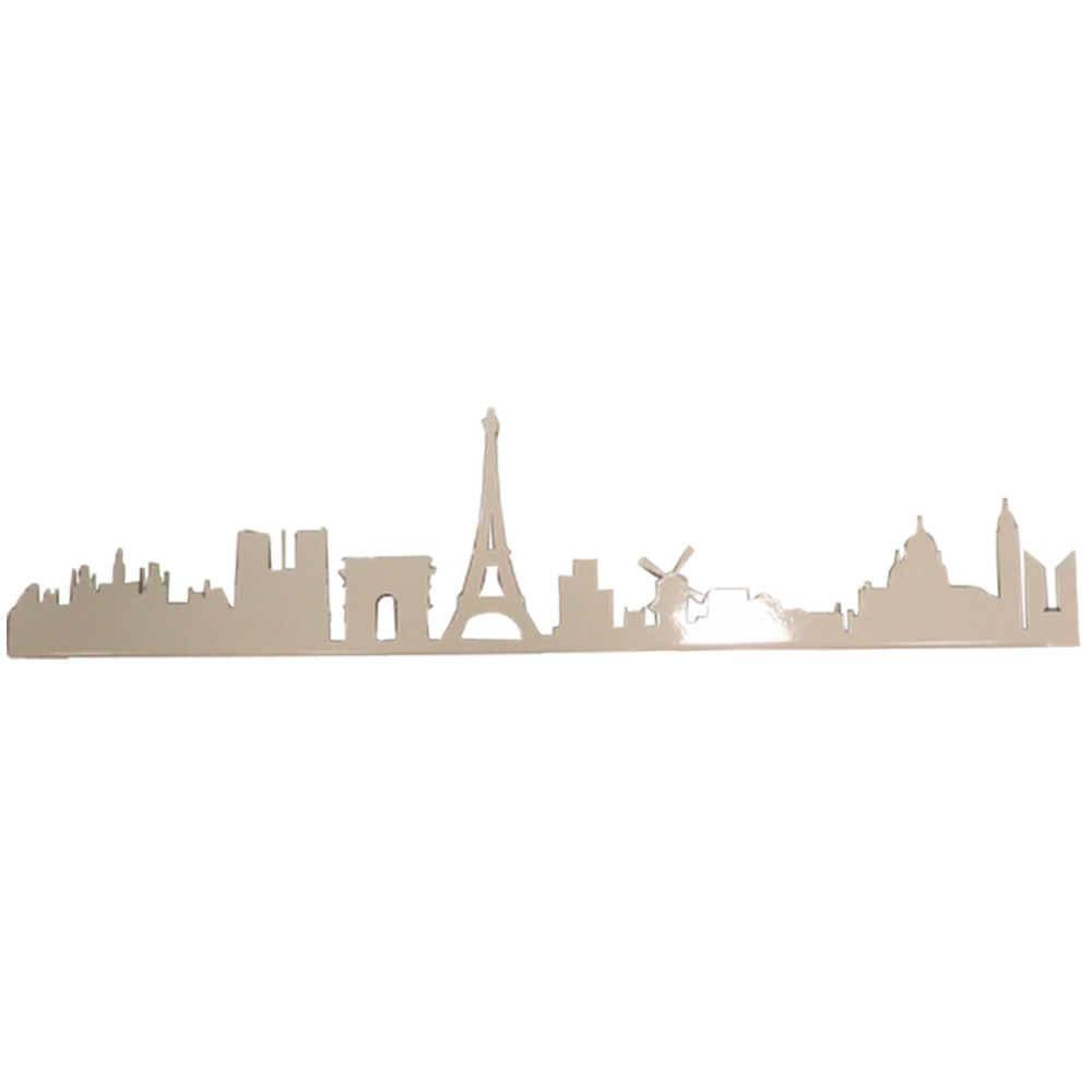 Painel Silhueta Paris Branco em Metal - 60x20 cm