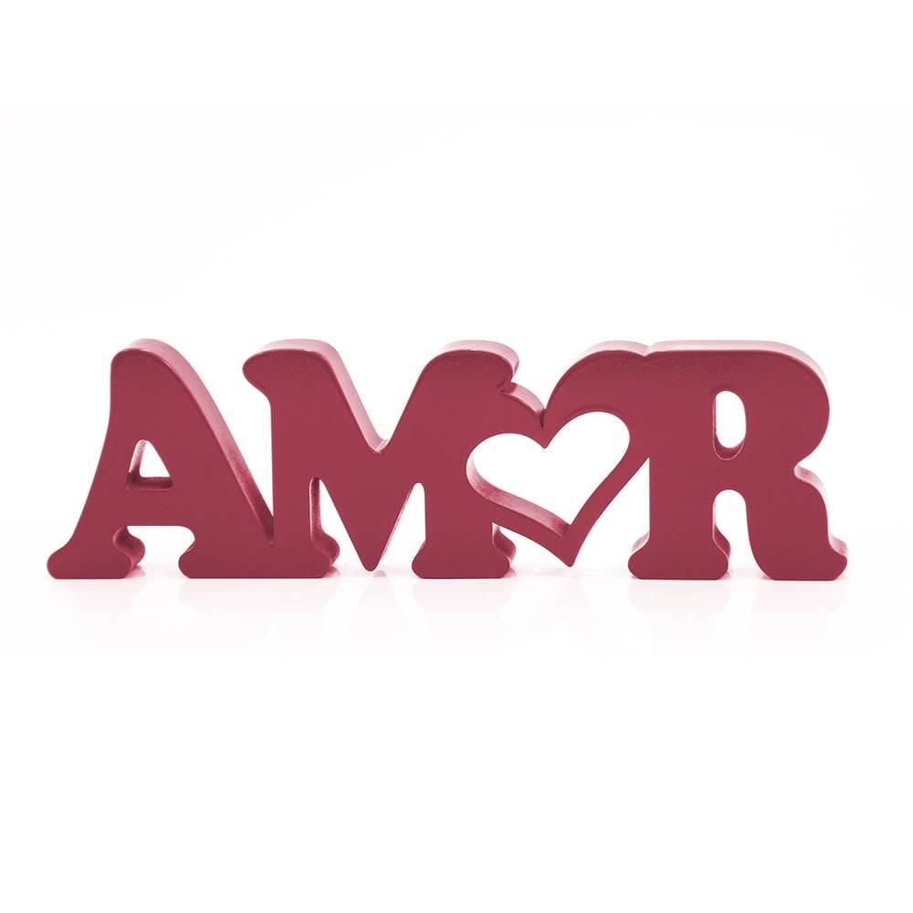 Palavra Decorativa Amor em MDF Laqueado Marsala - 30x8,6 cm