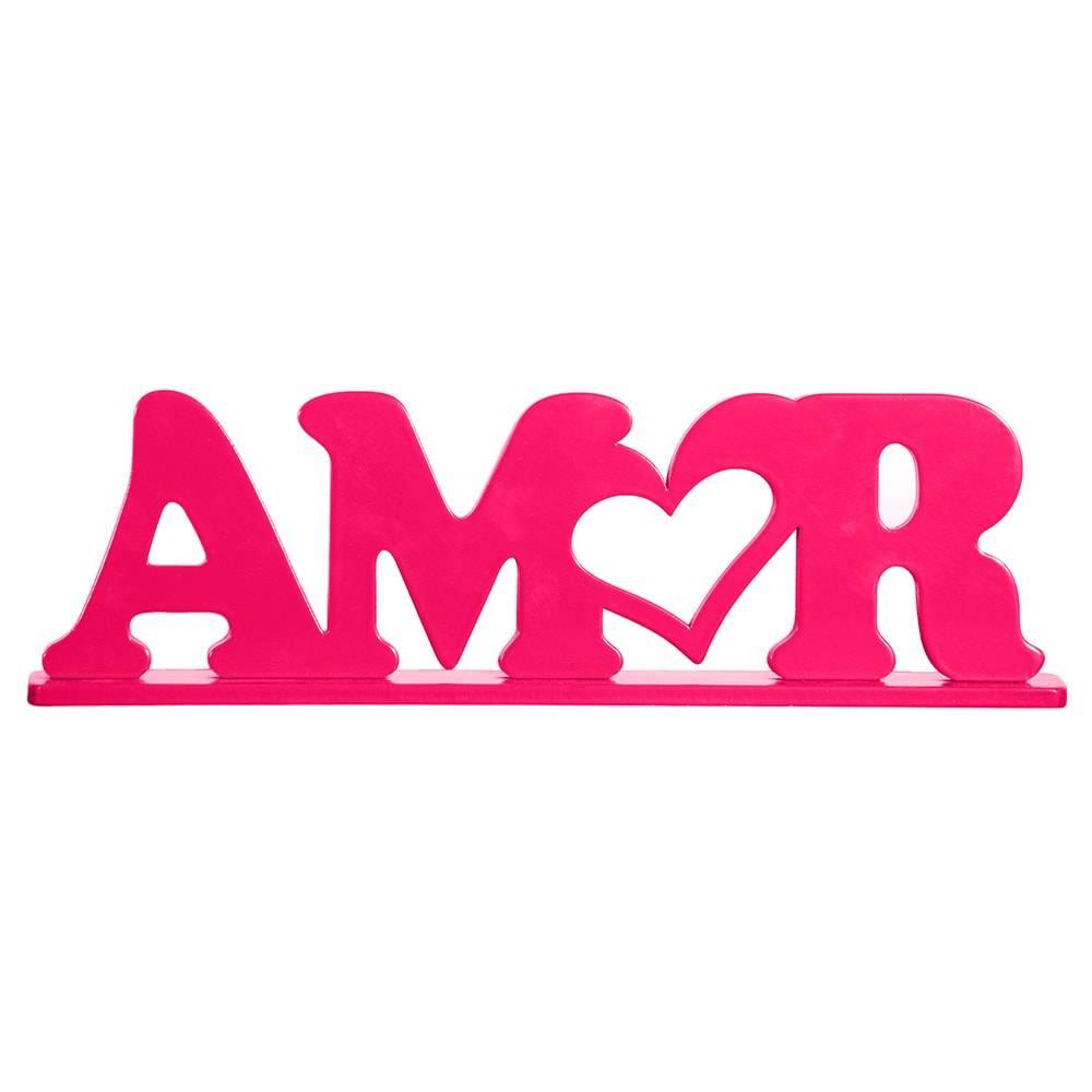 Palavra Decorativa Amor em MDF Laqueado Rosa Pink - 31x17 cm