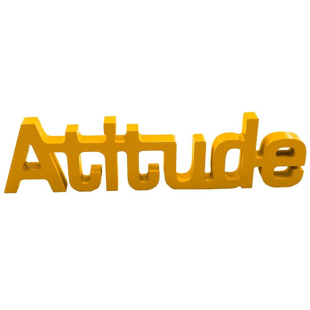 Palavra Decorativa Atitude em MDF Laqueado Amarelo - 30x8,6 cm