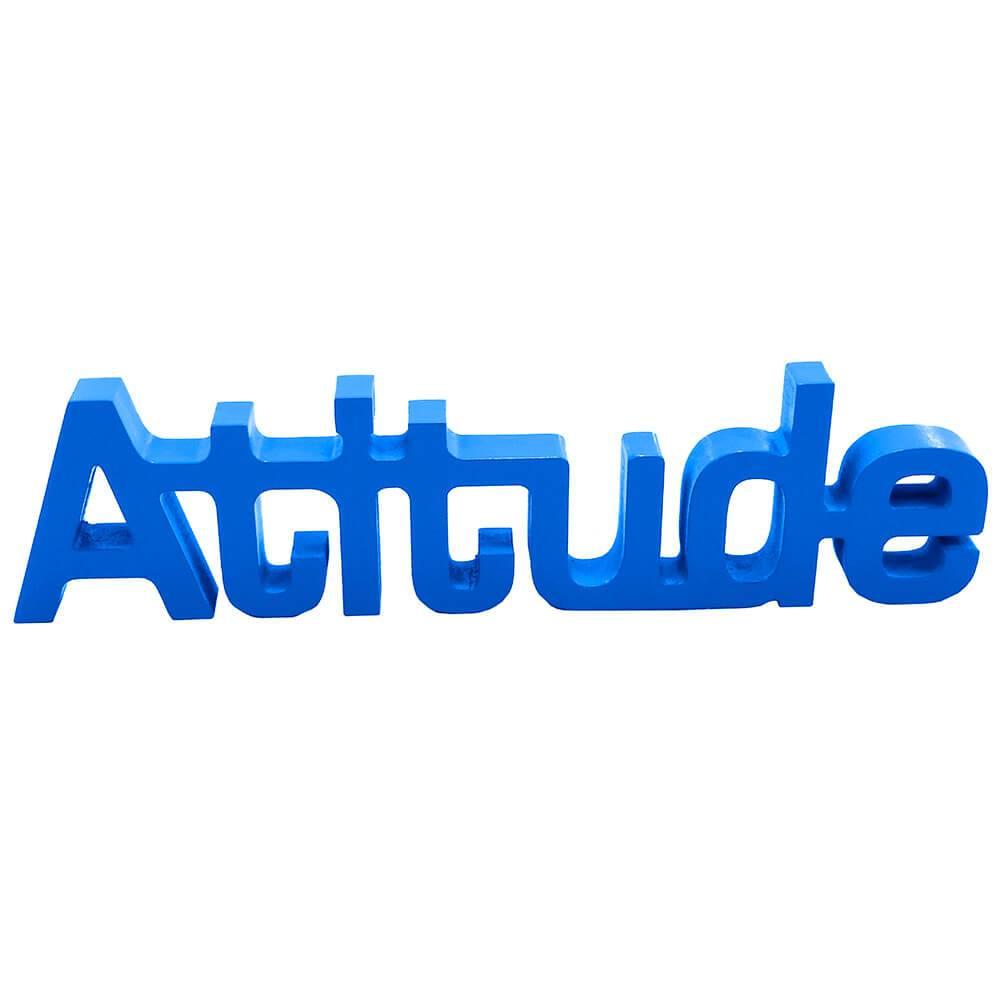 Palavra Decorativa Atitude em MDF Laqueado Azul Royal - 30x8,6 cm