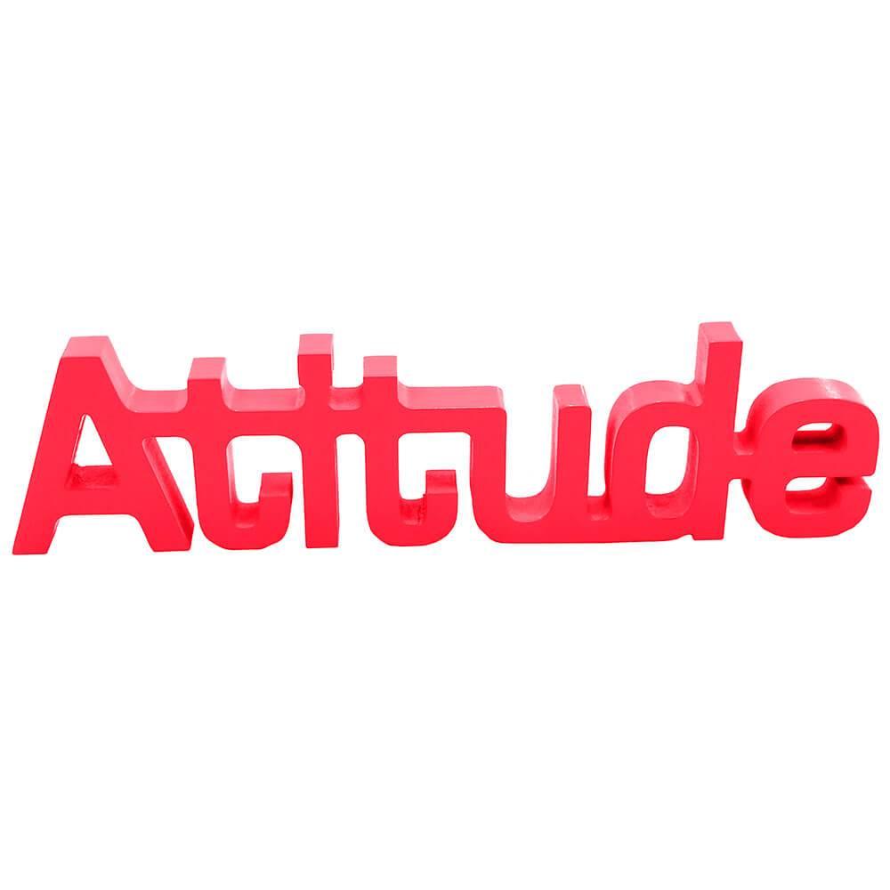 Palavra Decorativa Atitude em MDF Laqueado Vermelho - 30x8,6 cm