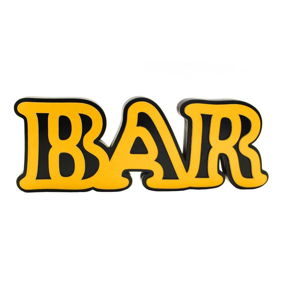 Palavra Decorativa Bar em MDF Laqueado Amarelo - 30x12 cm