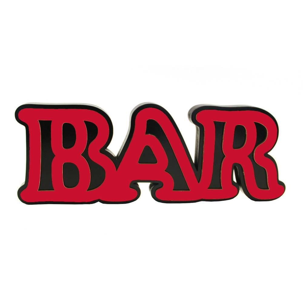 Palavra Decorativa Bar em MDF Laqueado Vermelho - 30x12 cm