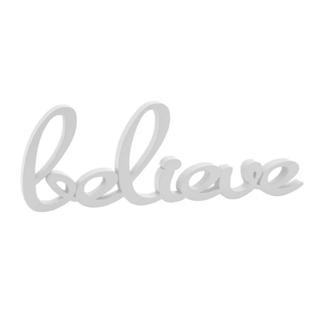Palavra Decorativa Believe em MDF Laqueado Branca - 30x10 cm