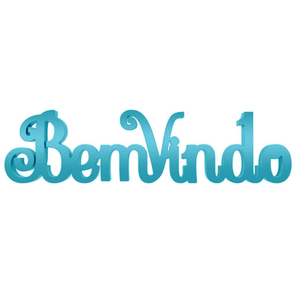 Palavra Decorativa Bem-Vindo Provençal em MDF Laqueado Azul Aquamarine - 30x8 cm