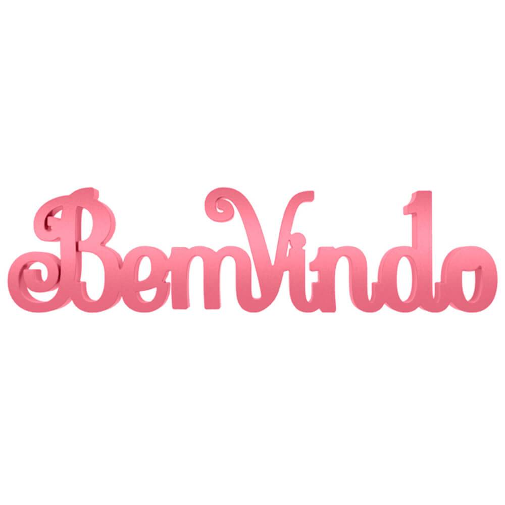 Palavra Decorativa Bem-Vindo Provençal em MDF Laqueado Rosa Antigo - 30x8 cm