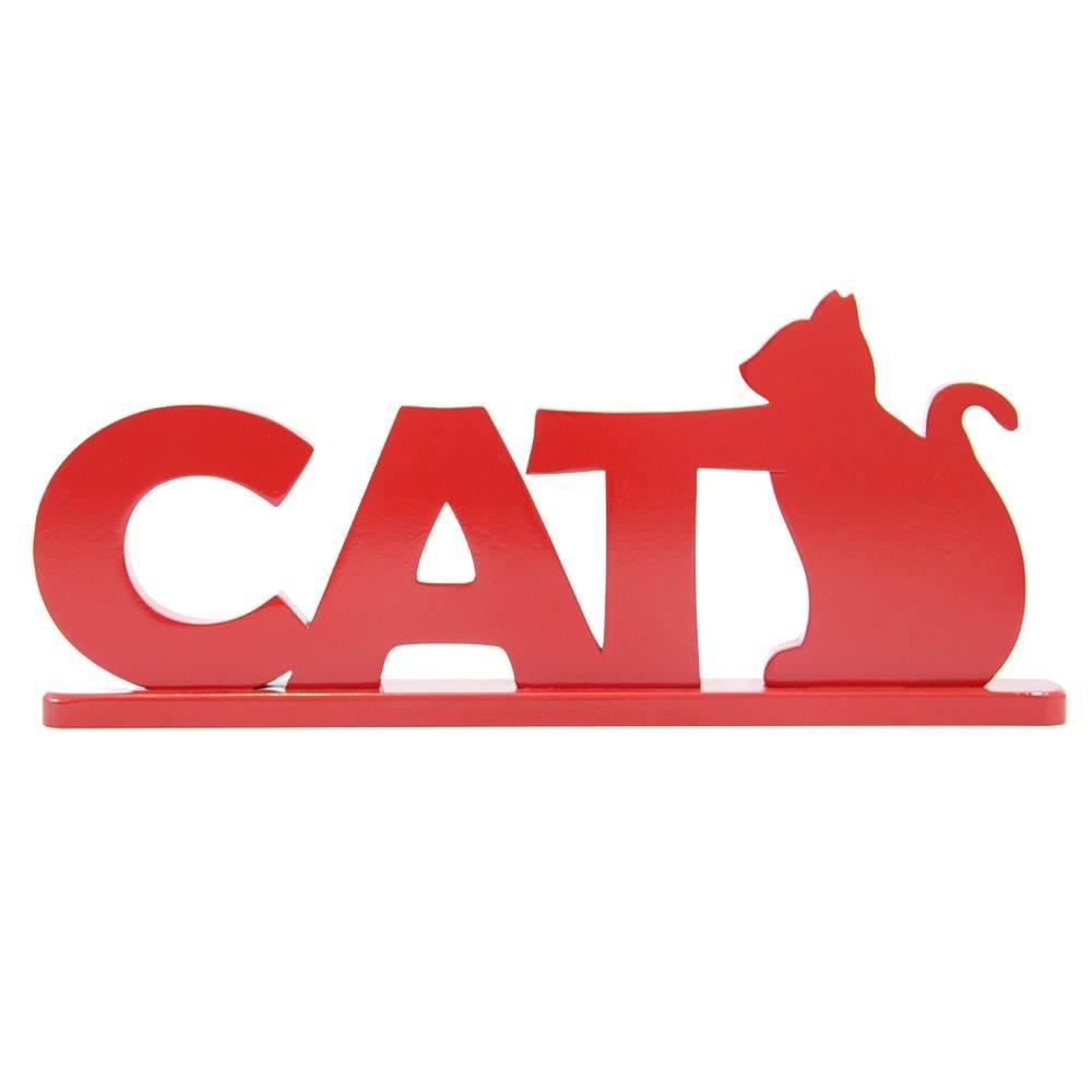 Palavra Decorativa Cat em MDF Laqueado Vermelho - 35x14 cm