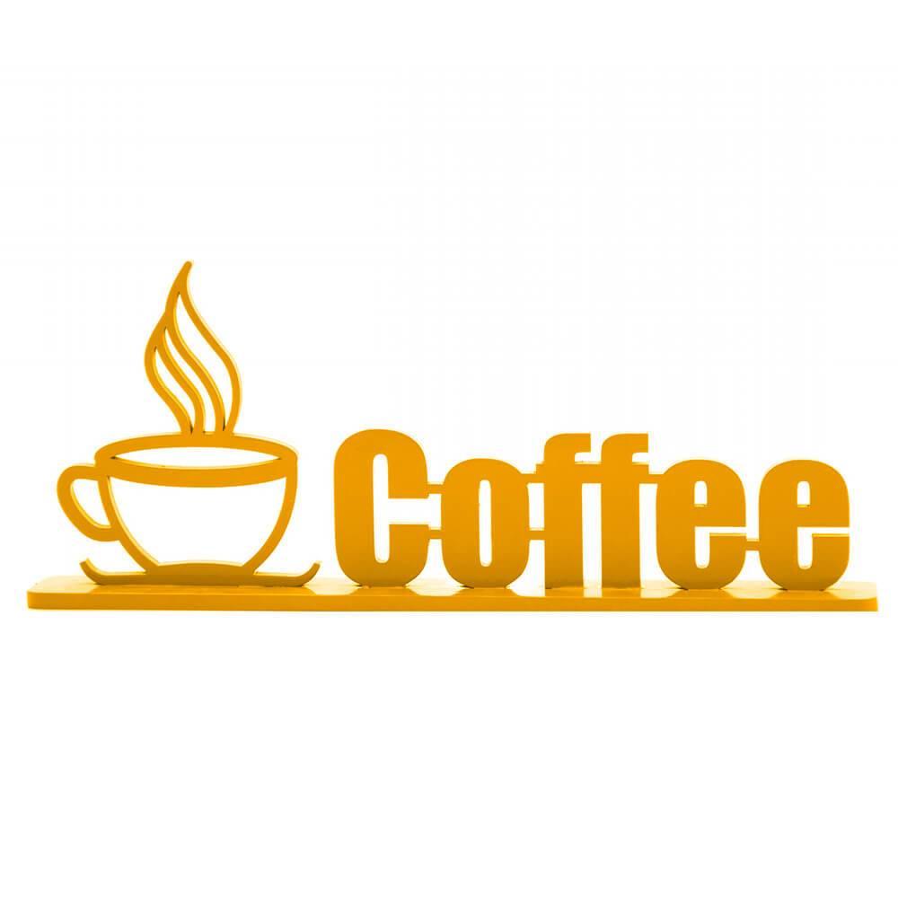 Palavra Decorativa Coffee em MDF Laqueado Amarelo - 33x13,4 cm