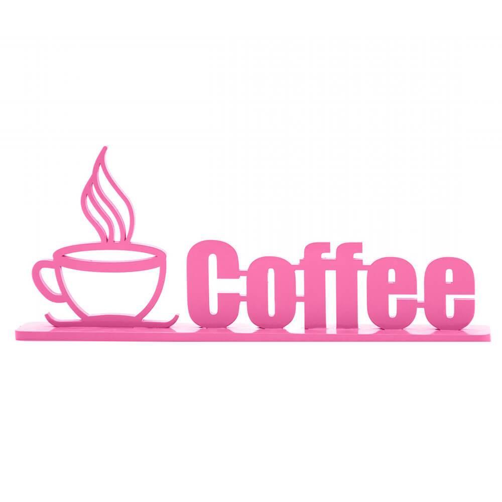 Palavra Decorativa Coffee em MDF Laqueado Berinjela - 33x13,4 cm