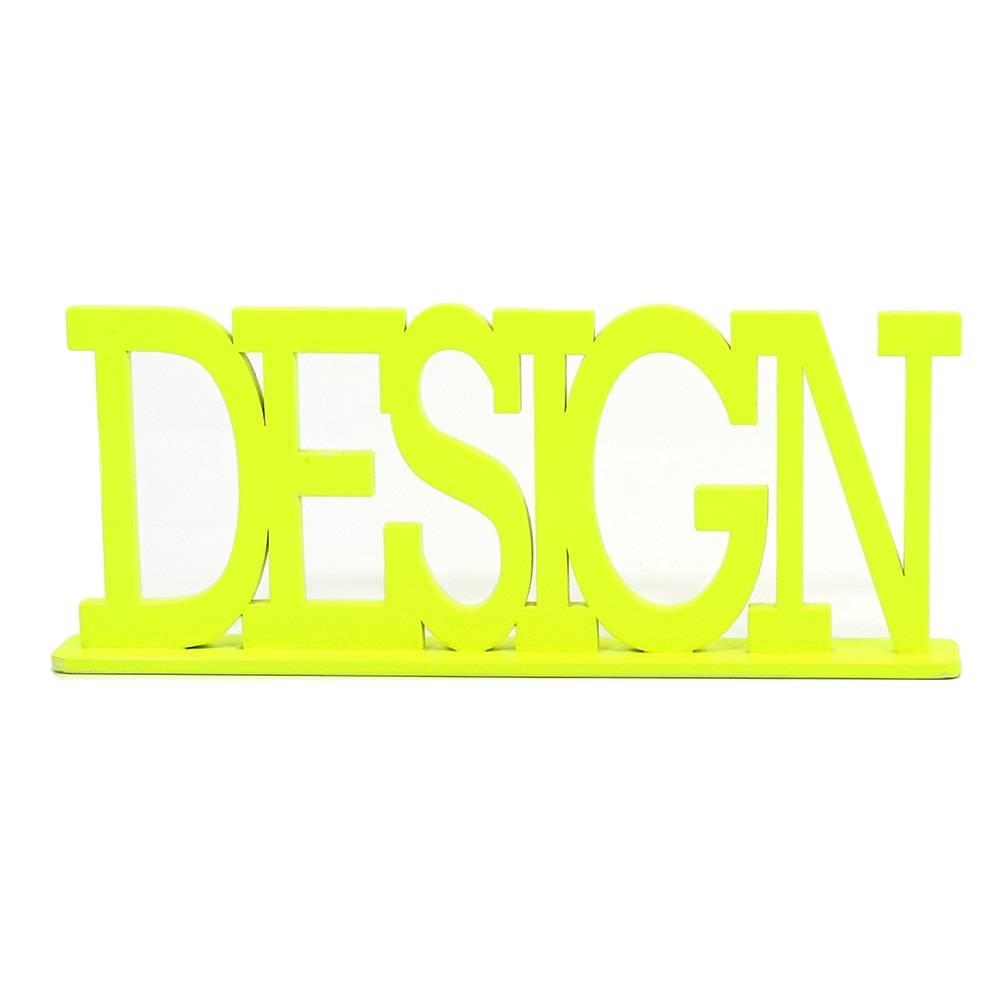 Palavra Decorativa Design em MDF Laqueado Amarelo - 33x13,2 cm