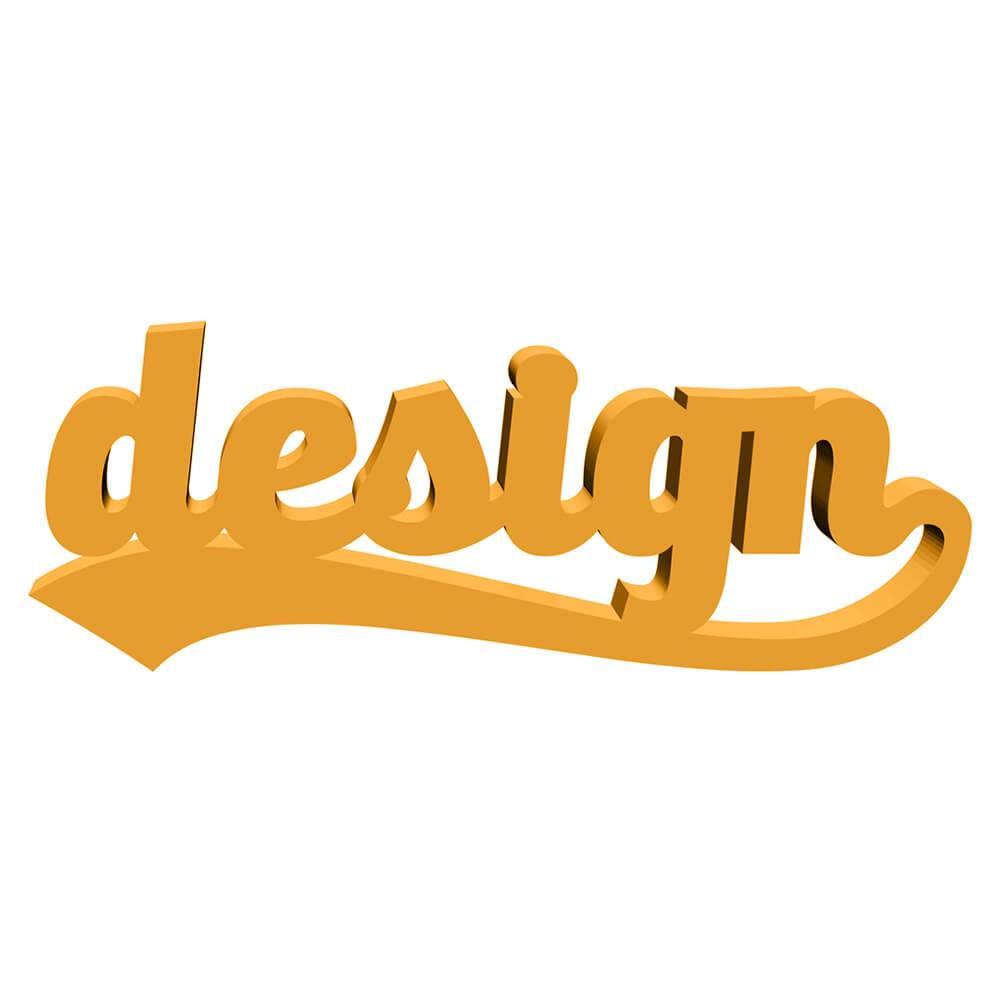 Palavra Decorativa Design em MDF Laqueado Dourado - 27x10 cm