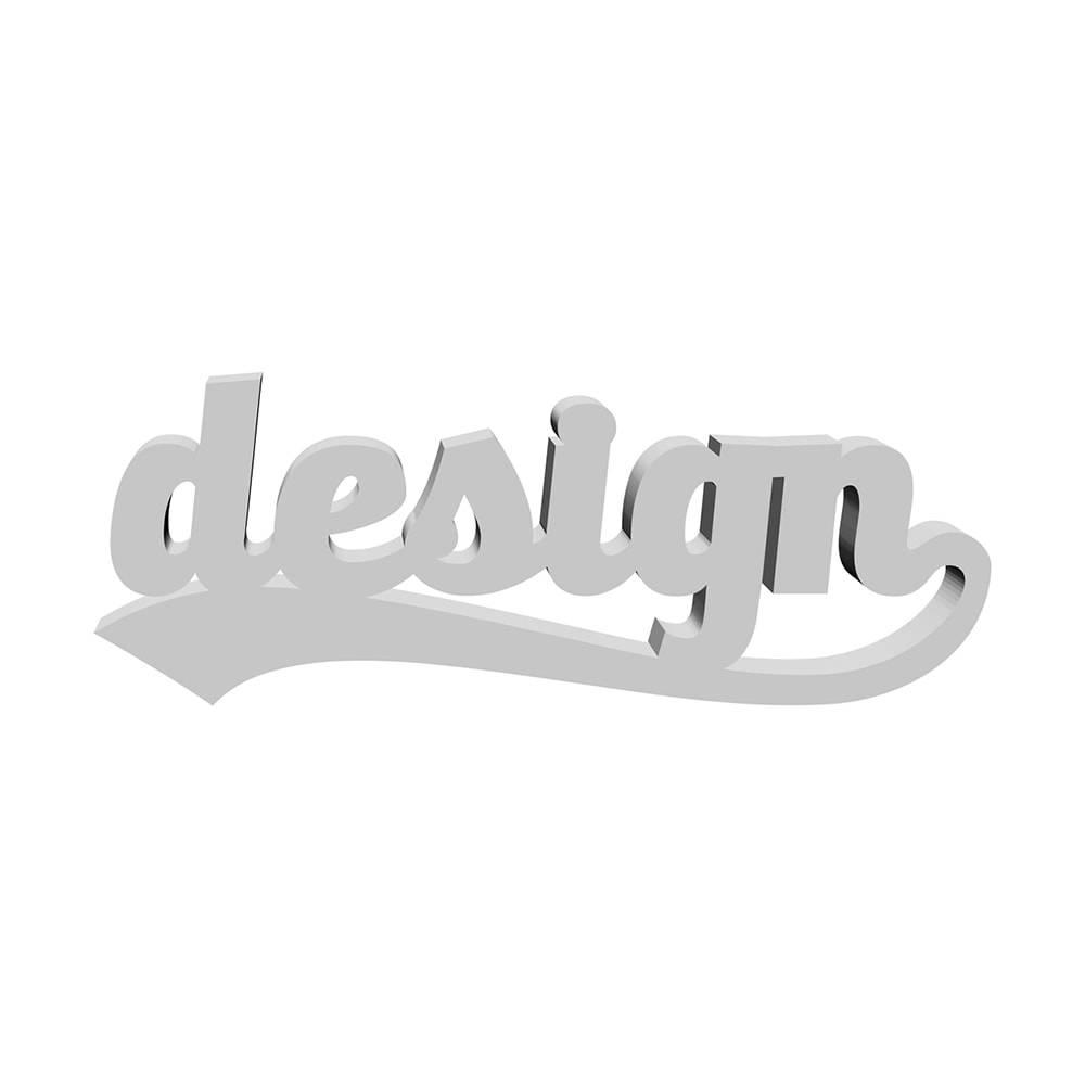 Palavra Decorativa Design em MDF Laqueado Prata - 27x10 cm