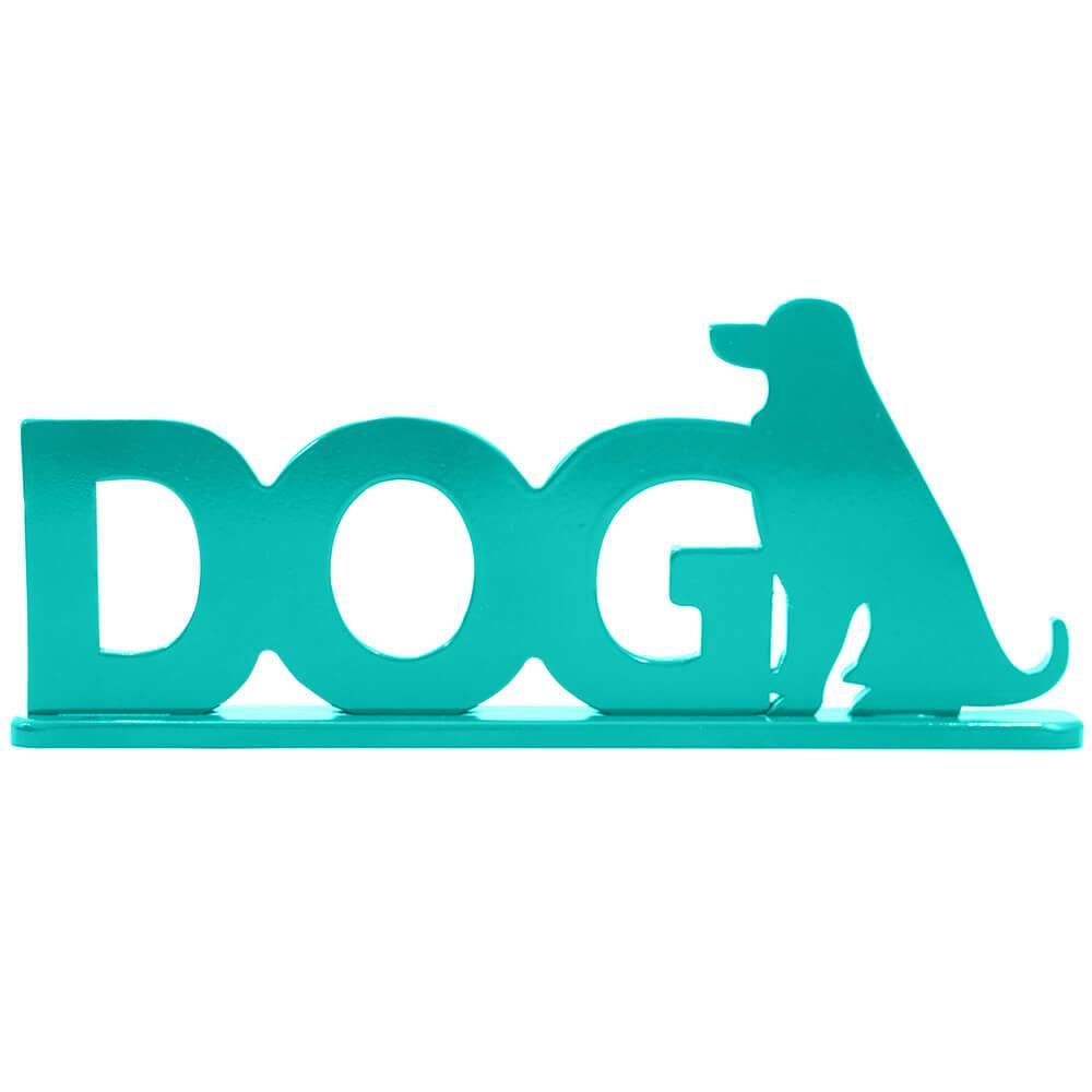 Palavra Decorativa Dog em MDF Laqueado Azul Tífany - 35x14 cm