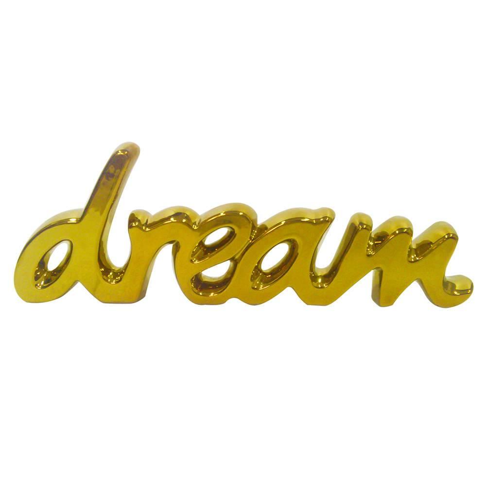 Palavra Decorativa Dream Dourada em Cerâmica - Urban - 43,5x15 cm